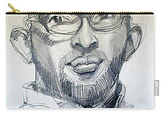Carry-all Pouch featuring the drawing Graphite Portrait Sketch Of A Young Man With Glasses by Greta Corens