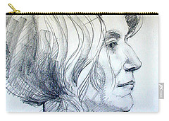 Portrait Drawing Of A Woman In Profile Carry-all Pouch