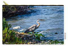 Great Blue Heron And Snowy Egret At Dinner Time Carry-all Pouch