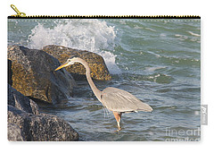 Carry-all Pouch featuring the photograph Great Blue Heron On The Prey by Christiane Schulze Art And Photography