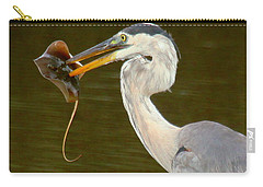 Great Blue Heron With Stingray Carry-all Pouch by Myrna Bradshaw