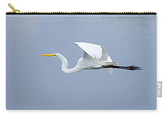 Carry-all Pouch featuring the photograph Great Egret In Flight by John M Bailey