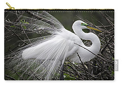 Great Egret Preening Carry-all Pouch by Fran Gallogly