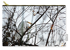 Carry-all Pouch featuring the photograph Great Egret Roosting In Winter by Susan Wiedmann