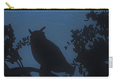 Carry-all Pouch featuring the drawing Owl At Night by D Hackett