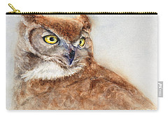 Great Horned Owl Carry-all Pouch by Bonnie Rinier