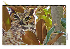 Carry-all Pouch featuring the photograph Great Horned Owl by Meghan at FireBonnet Art