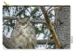 Carry-all Pouch featuring the photograph Great Horned Owl by Michael Chatt