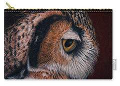 Carry-all Pouch featuring the painting Great Horned Owl Portrait by Pat Erickson