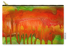 Green And Orange Abstract Carry-all Pouch
