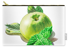 Carry-all Pouch featuring the painting Green Apple And Mint Happy Union by Irina Sztukowski