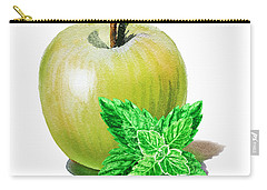 Carry-all Pouch featuring the painting Green Apple And Mint by Irina Sztukowski