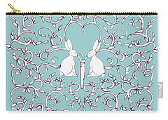 Green Blue Rabbits Leaves Carry-all Pouch by Donna Huntriss