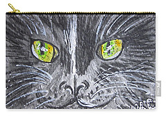 Green Eyes Black Cat Carry-all Pouch by Kathy Marrs Chandler