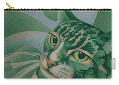 Green Feline Geometry Carry-all Pouch by Pamela Clements