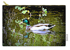 Carry-all Pouch featuring the photograph Green Head Mallard by Nick Kloepping