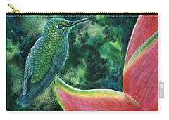 Green Hummingbird Carry-all Pouch by Sandra LaFaut