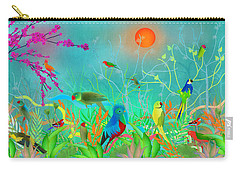 Green Landscape With Parrots - Limited Edition Of 15 Carry-all Pouch