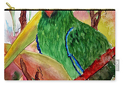 Green Parrot Carry-all Pouch by Lil Taylor