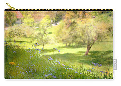 Carry-all Pouch featuring the photograph Green Spring Meadow With Flowers by Brooke T Ryan