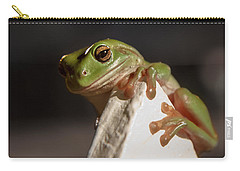 Green Tree Frog Keeping An Eye On You Carry-all Pouch