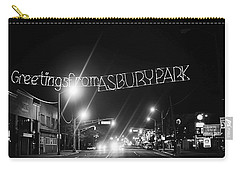 Greetings From Asbury Park New Jersey Black And White Carry-all Pouch