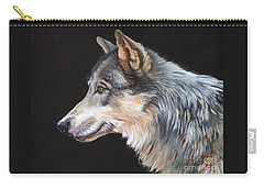 Grey Wolf Carry-all Pouch by J W Baker