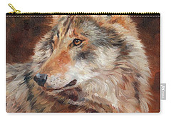 Grey Wolf Portrait Carry-all Pouch