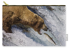 Grizzly Bear Catching Salmon Carry-all Pouch