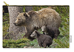 Grizzly Bear With Cubs Carry-all Pouch by Jack Bell