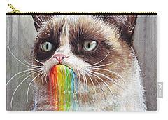 Grumpy Cat Tastes The Rainbow Carry-all Pouch by Olga Shvartsur