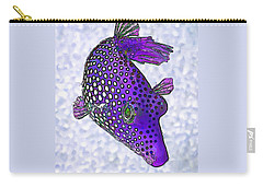 Guinea Fowl Puffer Fish In Purple Carry-all Pouch by ABeautifulSky Photography