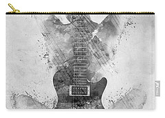 Carry-all Pouch featuring the digital art Guitar Siren In Black And White by Nikki Smith