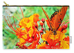 Gulf Fritillary Butterfly On Pride Of Barbados Carry-all Pouch