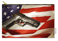 Gun On Flag Carry-all Pouch by Les Cunliffe