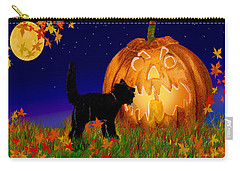 Halloween Black Cat Meets The Giant Pumpkin Carry-all Pouch