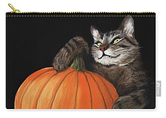 Carry-all Pouch featuring the painting Halloween Cat by Anastasiya Malakhova
