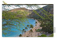 Hanauma Bay Nature Preserve Beach Through Monkeypod Tree Carry-all Pouch by Michele Myers