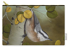 Hanging Around-red Breasted Nuthatch Carry-all Pouch by Rick Bainbridge