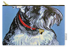 Carry-all Pouch featuring the painting Hans The Schnauzer Original Painting Forsale by Bob and Nadine Johnston