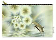 Happy Dolphin In A Surreal World Carry-all Pouch by Gabiw Art