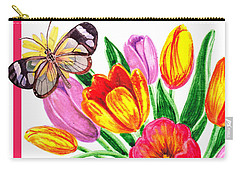 Happy Easter Butterfly Carry-all Pouch by Irina Sztukowski