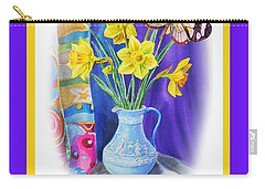Happy Easter Daffodils Carry-all Pouch by Irina Sztukowski