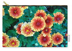 Carry-all Pouch featuring the photograph Happy Faces. Fall Mums In Orange And Yellow by Connie Fox