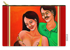 Carry-all Pouch featuring the mixed media Happy Family by Cyril Maza