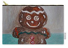 Happy Gingerbread Man Carry-all Pouch by Victoria Lakes