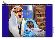 Carry-all Pouch featuring the digital art Happy Hanukkah  - 2 by Kathy Tarochione