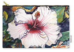 Carry-all Pouch featuring the painting Happy Hawaiian Hibiscus by Marionette Taboniar