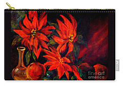 New Orleans Red Poinsettia Oil Painting Carry-all Pouch by Michael Hoard