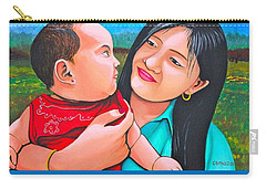 Carry-all Pouch featuring the mixed media Happy Mom And Babe by Cyril Maza